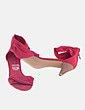 Sandalia de tacón denim rojo Marypaz