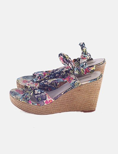 Cuña print floral lace up