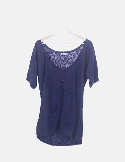 Blusa tricot azul detalle bolsillos