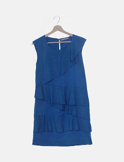 Vestido satinado azul