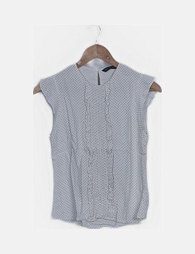 Camiseta fluida blanca topos