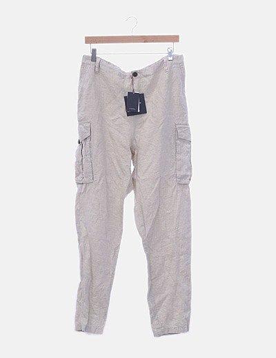 Pantalón beige de lino