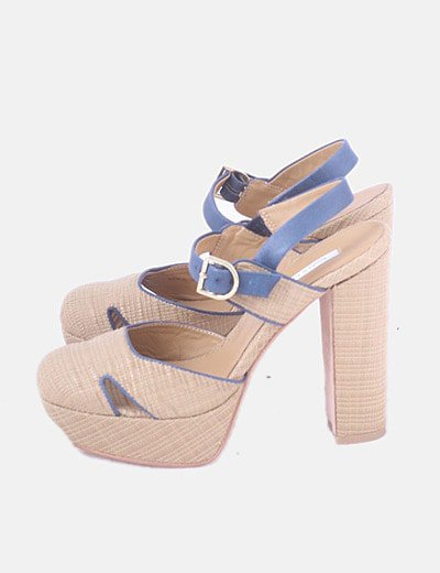 Sandalia de esparto y piel azul marino
