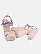 Sandalia de esparto y piel azul marino Bimba&Lola