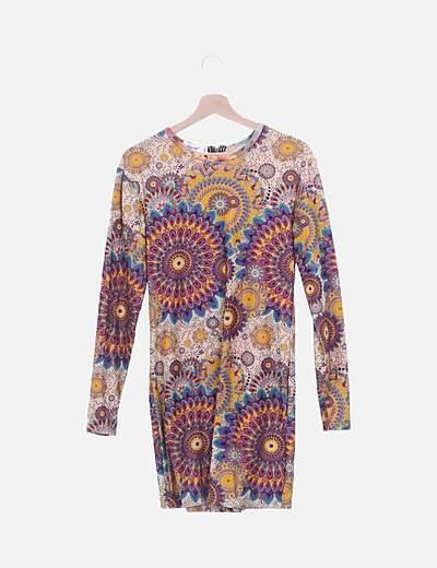 Vestido de manga larga con estampado multicolor