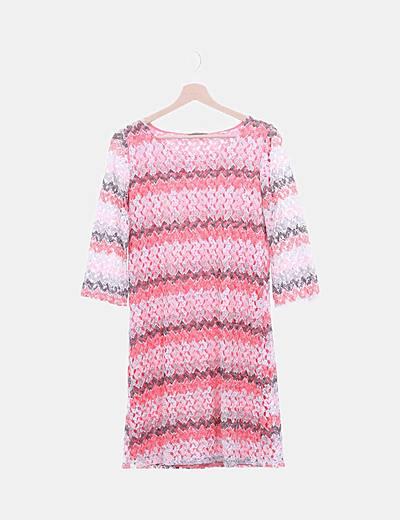 Vestido crochet combinado