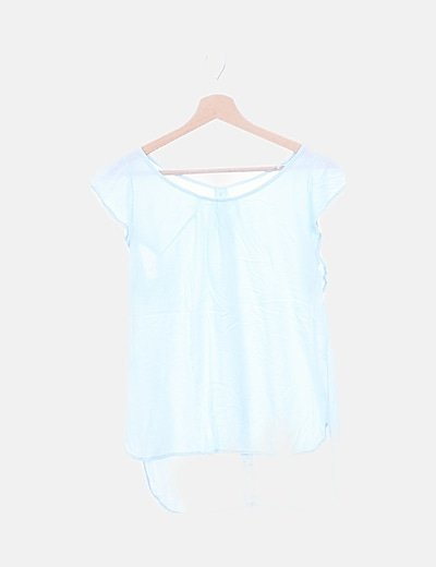 Blusa fluida azul espalda abotonada