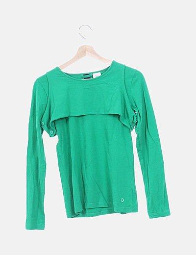 Camiseta verde de manga larga