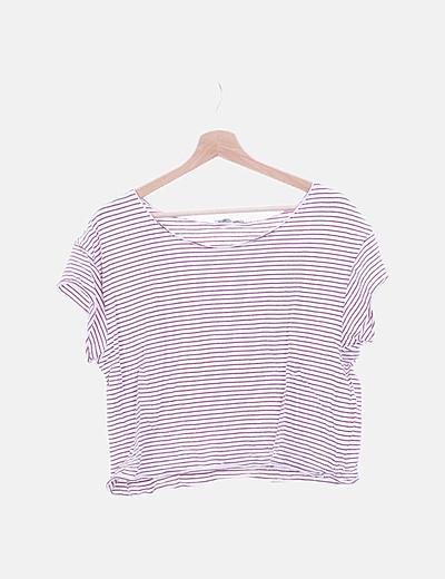 Camiseta blanca manga corta rayas rojas