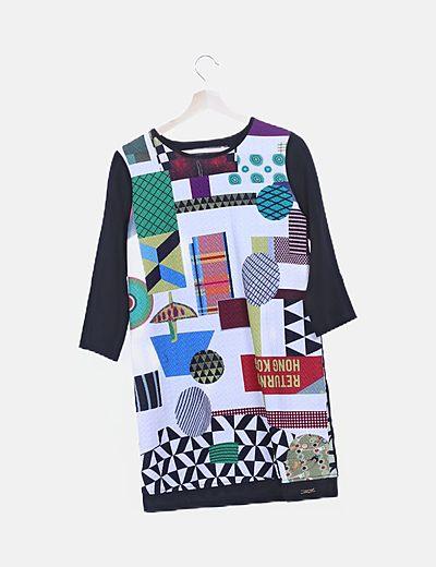 Vestido multicolor de manga francesa