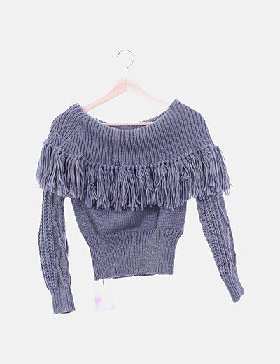 Jersey lana gris con flecos