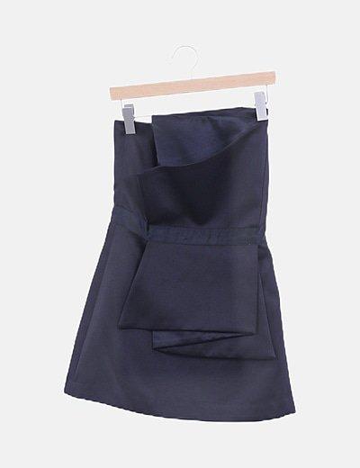 Vestido satén negro asimétrico