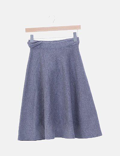 Falda tricot gris evasé