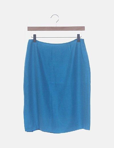 Falda azul lino