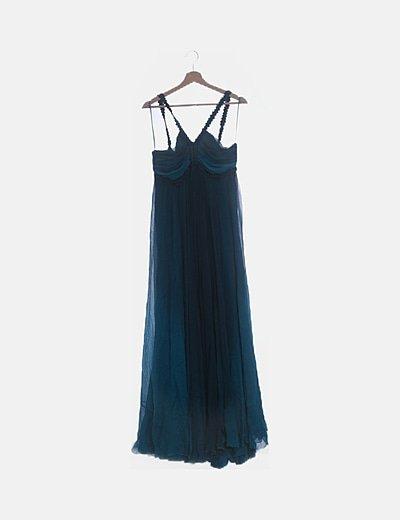 Vestido seda azul petróleo