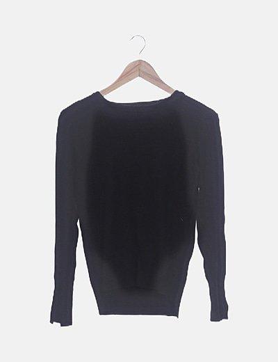 Jersey tricot negro con botones