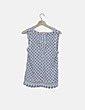 Top tricot blanco topos azul marino Pull&Bear