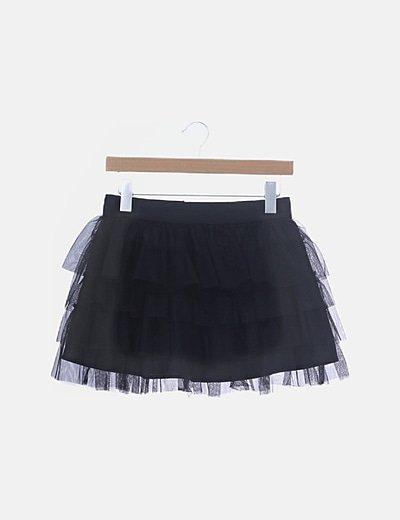 Mini falda tutú negra de volantes