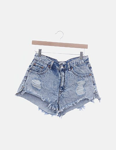 Short denim ripped efecto desgastado