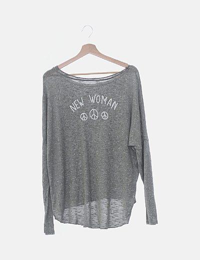 Jersey tricot gris jaspeado print