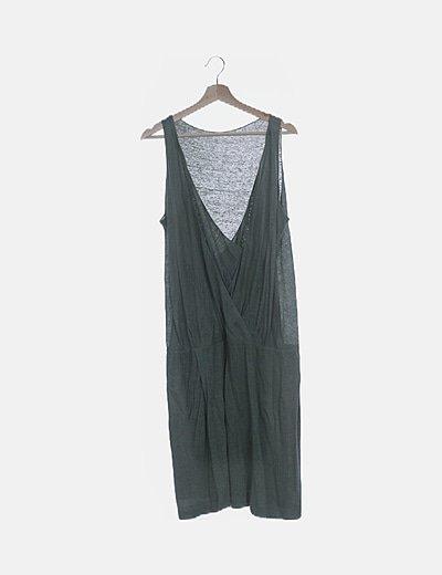 Vestido lino verde escote cruzado