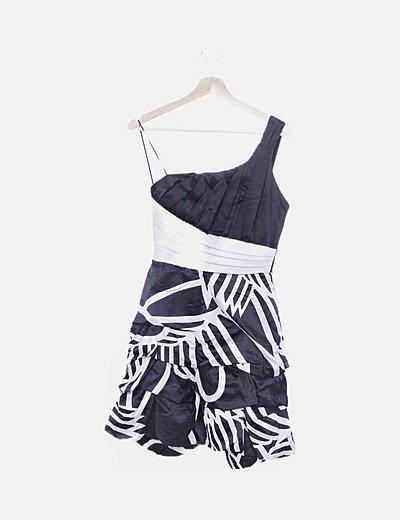 Vestido asimétrico bicolor