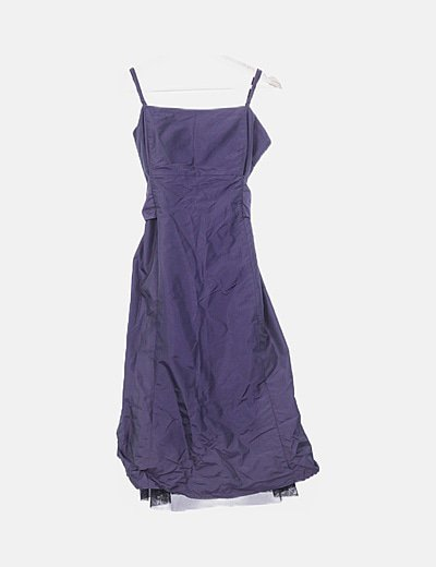 Vestido morado satinado detalle lazo