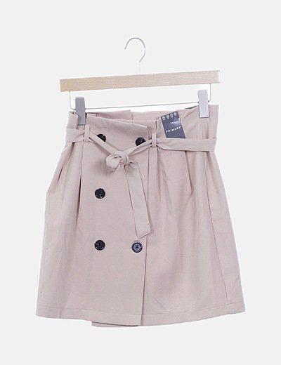 Mini falda beige botones
