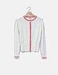 Chaqueta tricot blanco roto rayas rojas Pilar Prieto
