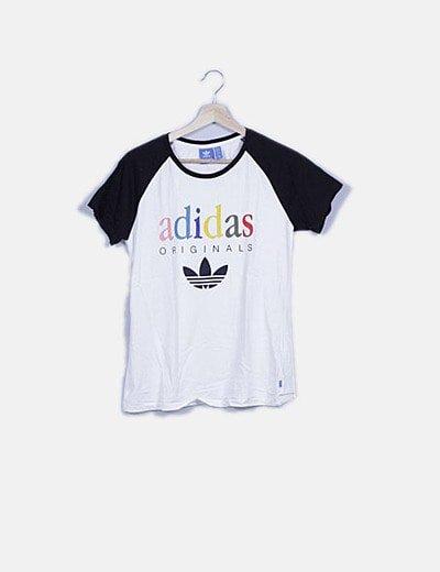 Camiseta blanca combinada print letras