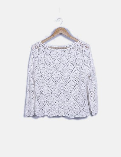 Blusa crochet blanco roto