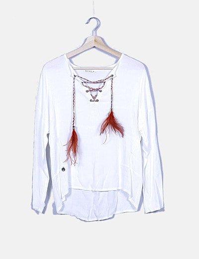 Blusa blanca lace up multicolor