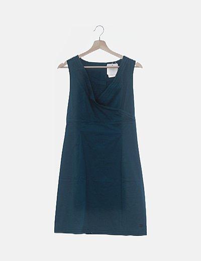 Vestido azul petróleo escote cruzado