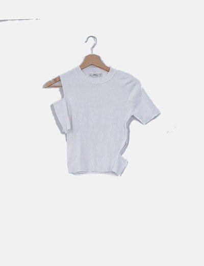 Camiseta canalé blanca con aberturas