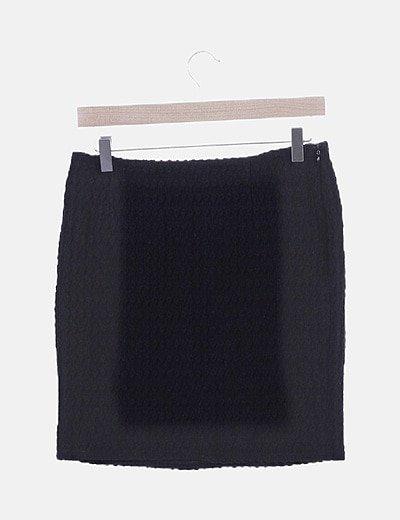 Falda texturizada negra