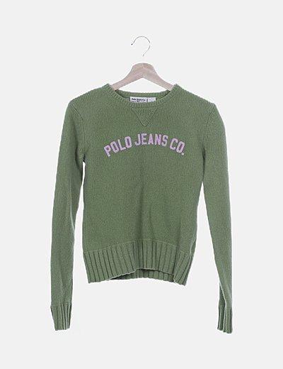 Jersey lana verde letter print rosa