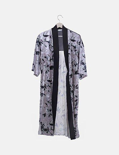 Kimono velvet floral gris