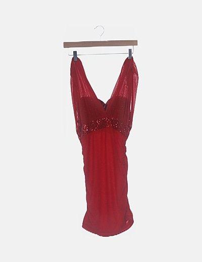 Vestido rojo de malla combianado paillettes