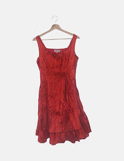 Vestido rojo satén plisado