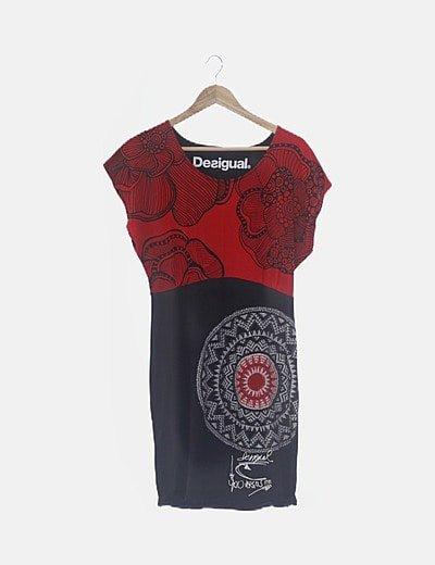 Vestido negro y rojo combinado