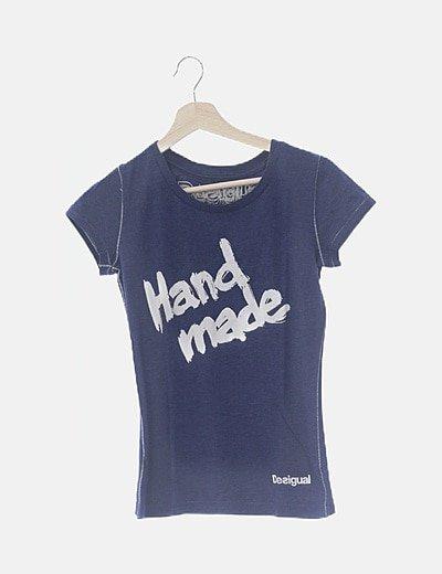 Camiseta azul print hand made