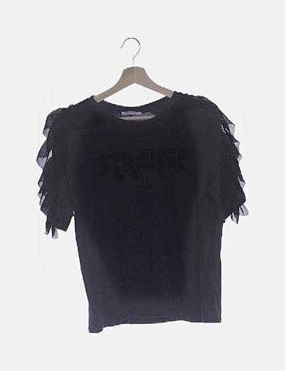 Camiseta gris detalle gasa
