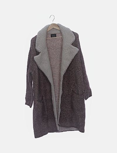 Abrigo tricot con borrego