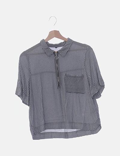 Camisa cuadros vichy negra