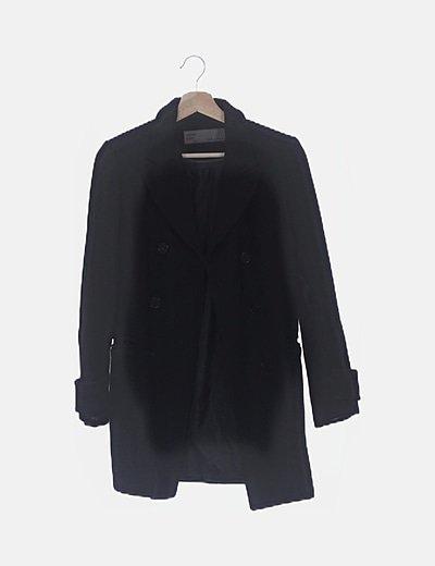 Abrigo paño negro doble botonadura