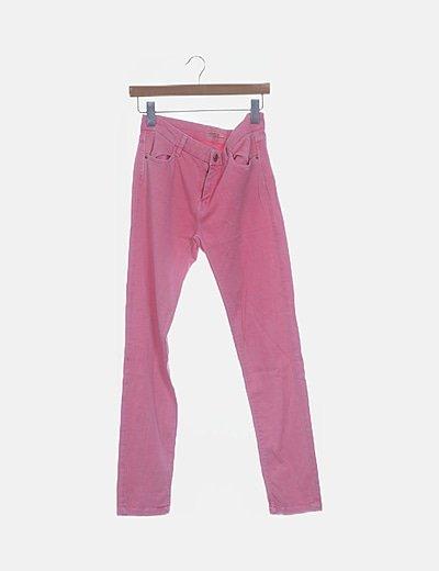 Pantalón denim rosa flúor