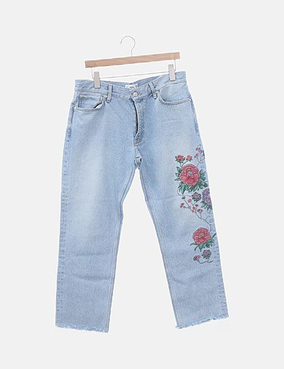 Jeans denim bordado floral