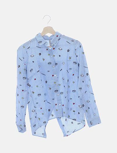 Camisa rayas bordada