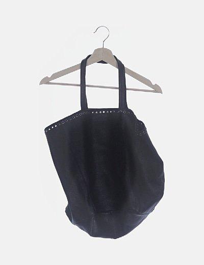 Bolso shopper negro piel troquelado