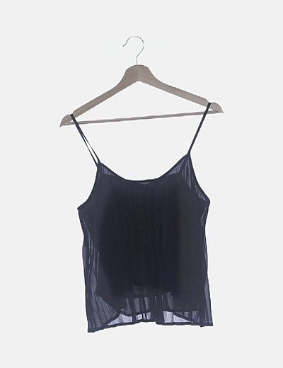 Blusa azul marino plisada